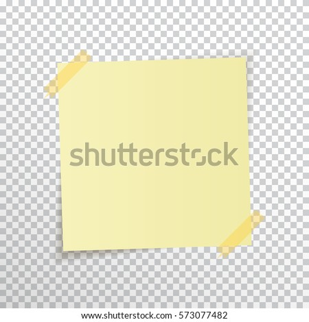 Template Yellow Sticky Note Sticky Tape Stock Vector 573077482