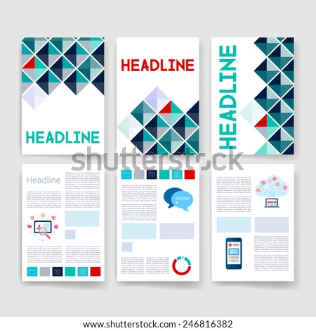 Templates. Applications and Infographic Concept. Flyer, Brochure Design Modern user interface (ux, ui) screen template for mobile smart phone or web site. Transparent  material design ui with icons. - stock vector