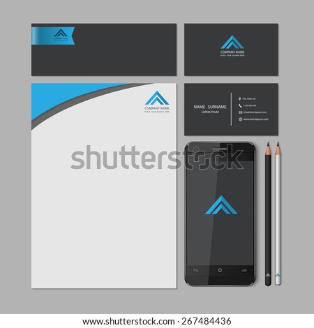Templates:blank, business cards, smart phone, brand-book,pencil, Vector illustration. - stock vector