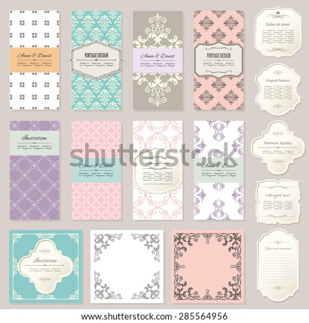 Templates, cards, frames in vintage style. Pastel calm colors. Can be used in different variations. - stock vector