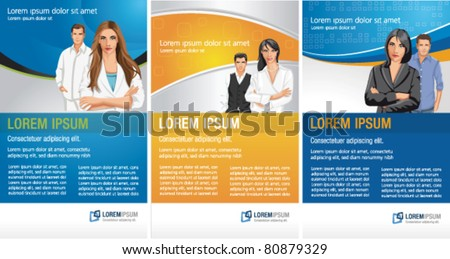 Templates for advertising brochure / Flyers with business people - stock vector