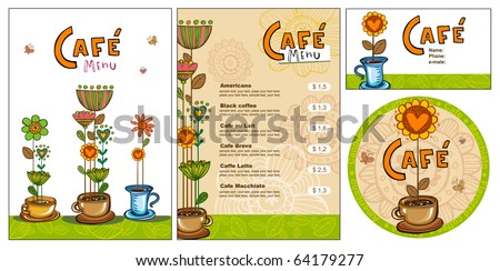 Templates for corporate style for cafe or shop, vector illustration - stock vector
