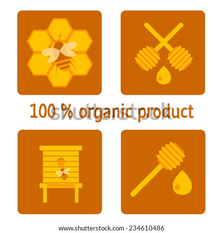 Templates for logos, emblems, booklets or badges with beekeeping things - stock vector