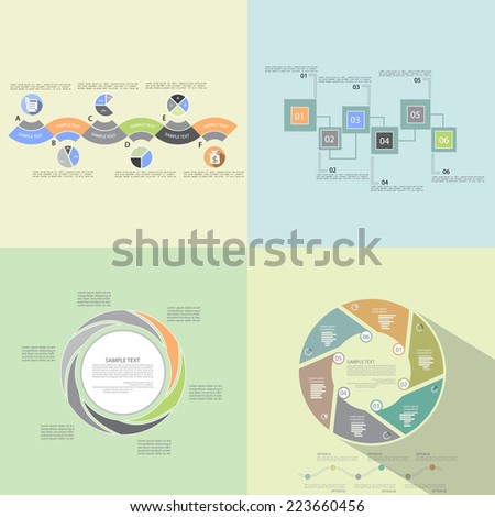 Templates for presentation, business concept with six steps or processes - stock vector