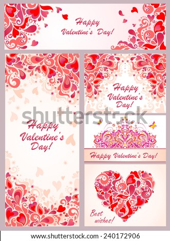 Templates for Valentines day - stock vector
