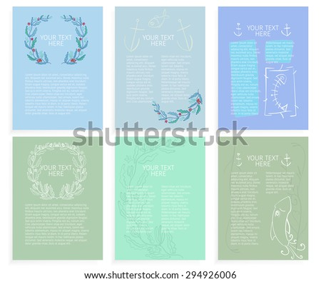 Templates of abstract sea-themed layouts - stock vector