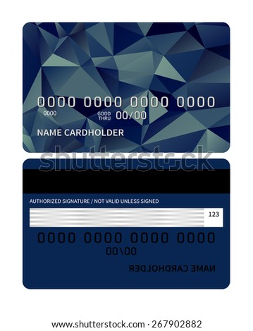 Templates of credit card design with a triangle background. Vector illustration. - stock vector