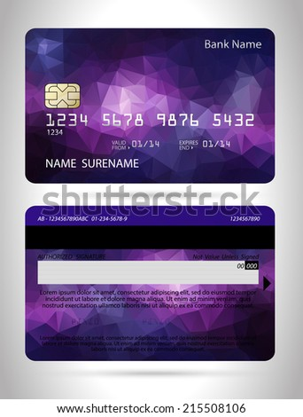 Templates of credit cards design with a polygon background, Isolated vector - stock vector