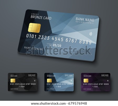 templates of credit debit bank cards with black polygonal abstract design elements vector