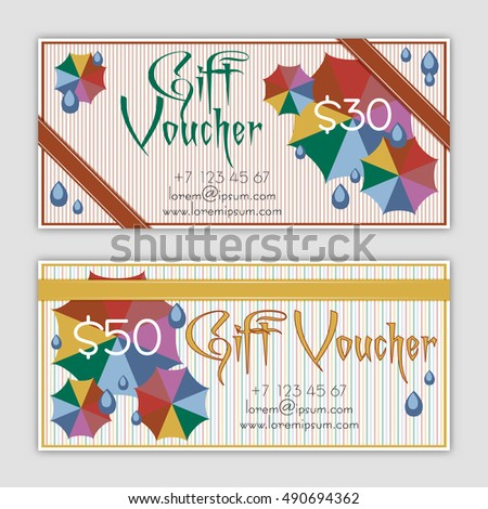 Discount coupon design summer voucher vector stock vector templates of gift vouchers with colorful umbrellas and rain drops in flat style certificates for negle Gallery