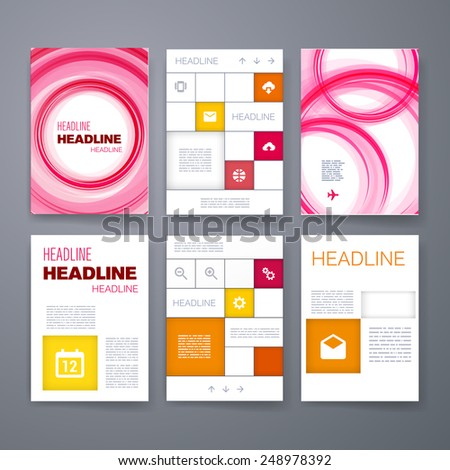 Templates. Set of Web, Mail, Brochure Design Templates. Mobile Technologies, Applications and Infographic Concept. Modern flat design icons for mobile or smartphone on a light background.  - stock vector