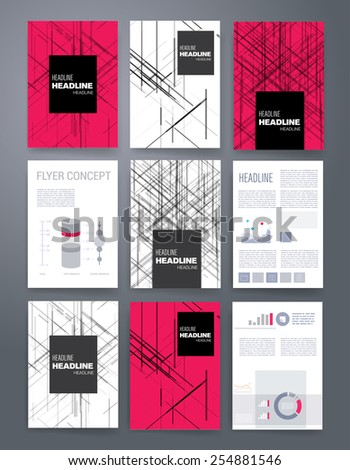 Templates. Vector flyer, brochure, magazine cover template can use for print and marketing. Applications and Infographic Concept. Modern flat design icons for mobile or smartphone.  - stock vector