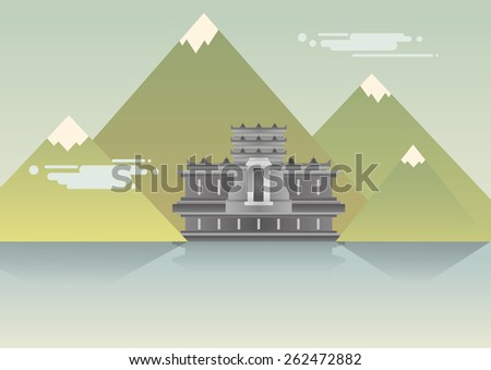 temple landscape on mountain - stock vector