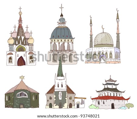 temples of different religions - stock vector