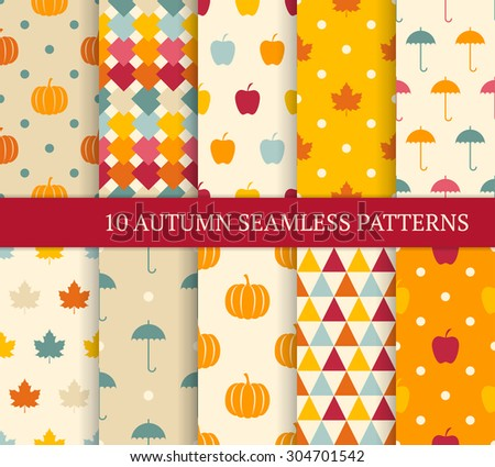 Ten autumn different seamless patterns. Endless texture for wallpaper, web page background, wrapping paper and etc. Retro style. - stock vector