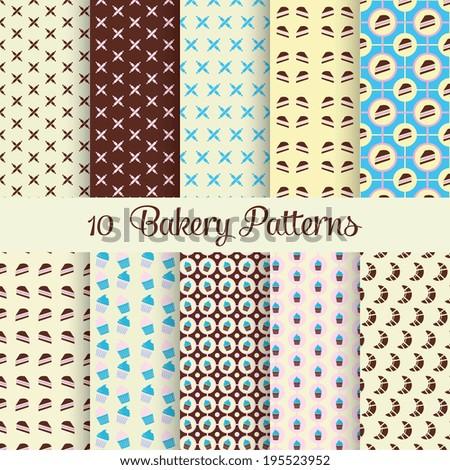 Ten bakery patterns - stock vector