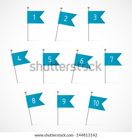 Ten blue flags on the pins, ten vector labels - stock vector