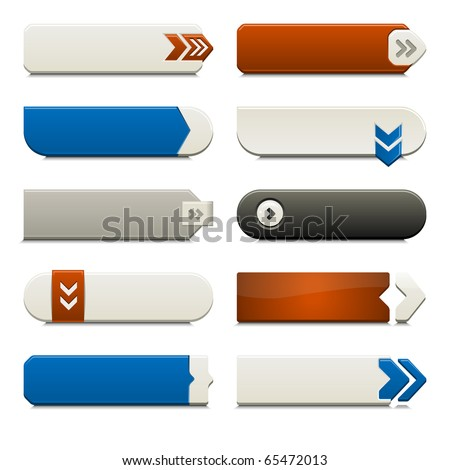 Ten call to action buttons, with different styles and shapes. Made with Global Swatches. - stock vector