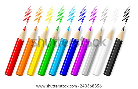Ten color pencils isolated on white background. - stock vector