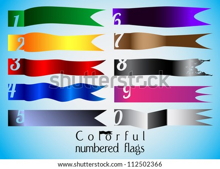 Ten colorful numbered flag set - stock vector