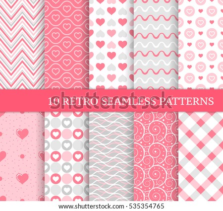 Ten different seamless patterns hearts stripes stock vector ten different seamless patterns with hearts stripes and dots pretty and delicate backgrounds voltagebd Images