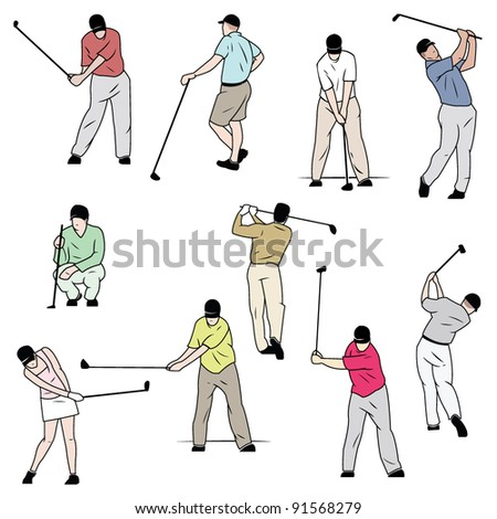 Ten Golfers in Color - stock vector