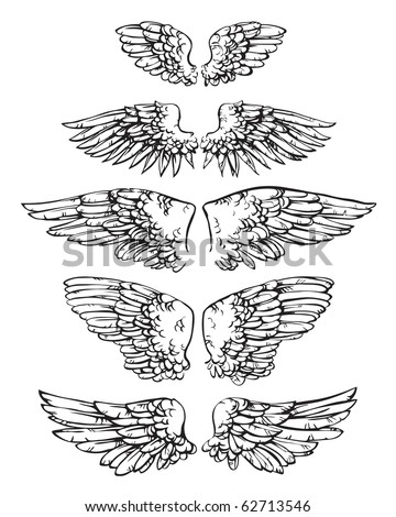 Ten ink sketches united in 5 pairs of wings - stock vector