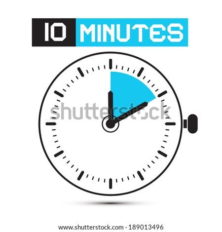 Ten Minutes Stop Watch - Clock Vector Illustration - stock vector