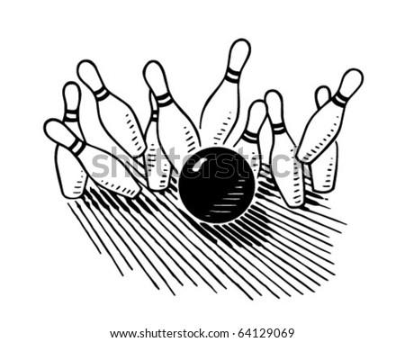Ten Pin Bowling - Retro Clipart Illustration - stock vector