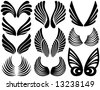 Ten Sets of Black Stylized Angel Wings - stock photo
