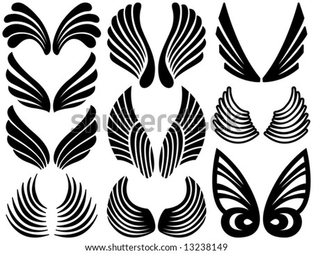 Ten Sets of Black Stylized Angel Wings - stock vector