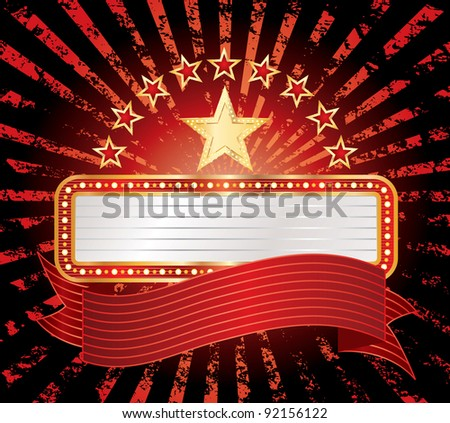 ten stars with blank billboard - stock vector