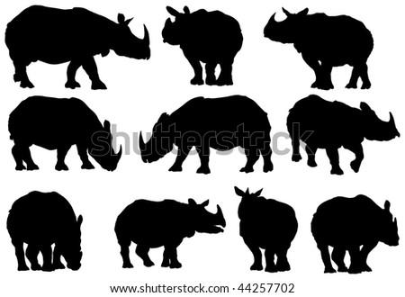 Ten vector rhino silhouettes on white background. - stock vector