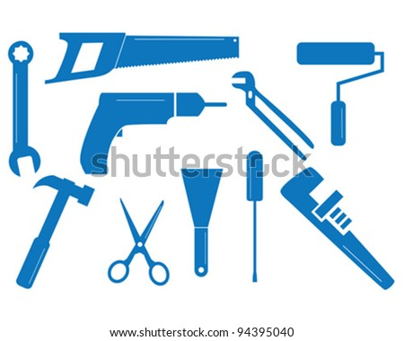 Ten vector tool shapes for different trades - stock vector