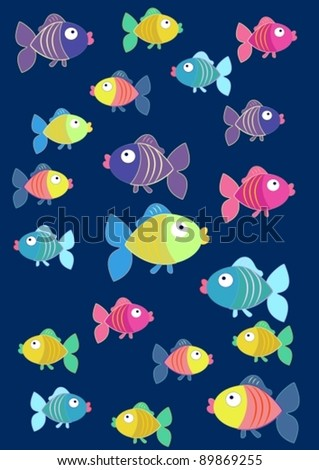Tender background with colored fish, vector - stock vector