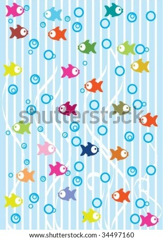 Tender background with, mix fish - stock vector