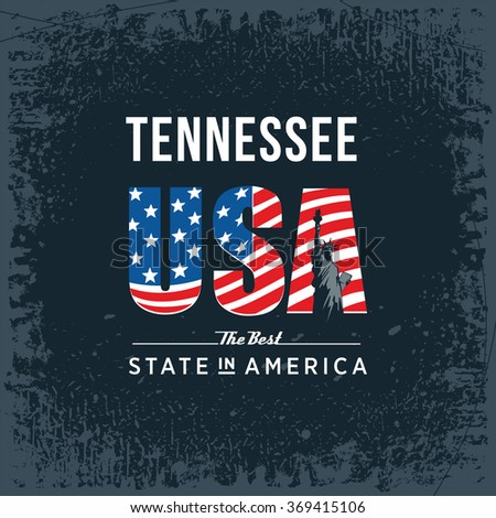 Tennessee best state in America, vintage vector illustration, black