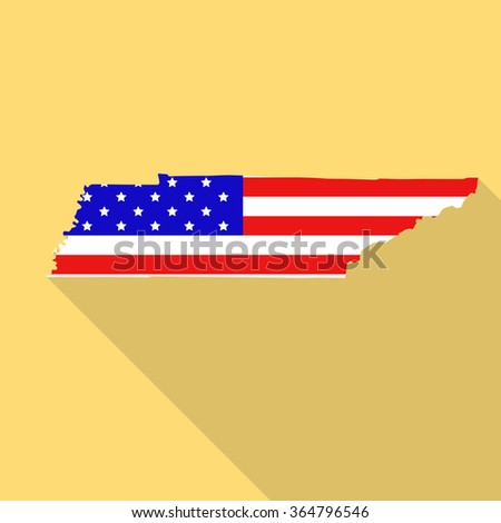 Tennessee State Map In Style Of Usa National Flag Flat Style With Long Shadow