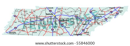 Tennessee State Road Map With Interstates U S Highways And State Roads All Elements On