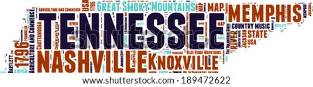 Tennessee USA state map vector tag cloud illustration - stock vector