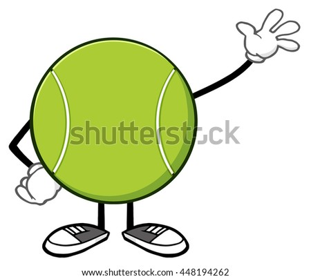 Tennis Ball Faceless Cartoon Mascot Character Waving. Vector Illustration Isolated On White Background