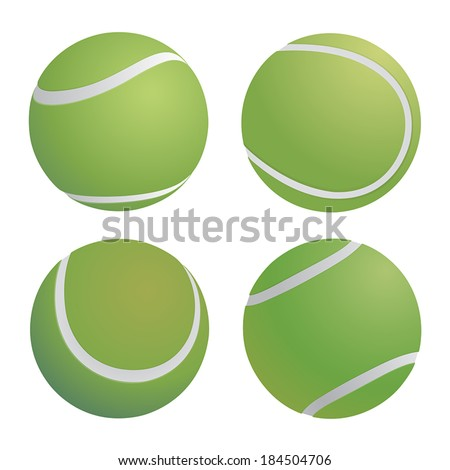 Tennis ball random position on isolated background