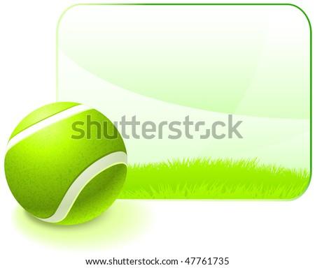 Tennis Ball with Blank Nature Frame Original Vector Illustration - stock vector