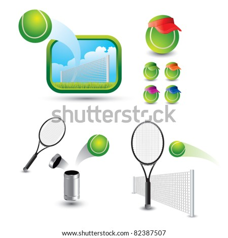 Tennis balls and rackets in various scenes - stock vector
