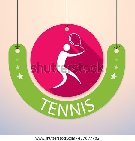 Tennis - Colorful Paper Tag for Sports - stock vector