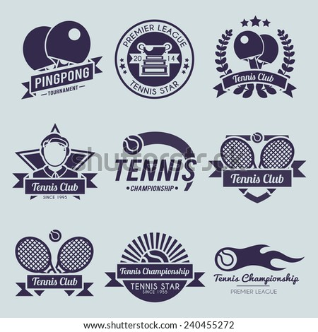 Tennis competition ping pong sport premiere league label black set isolated vector illustration - stock vector