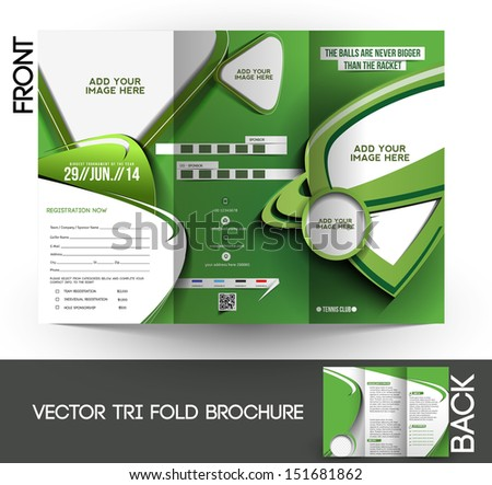 Tennis Competition Tri-Fold  Mock up & Brochure Design  - stock vector
