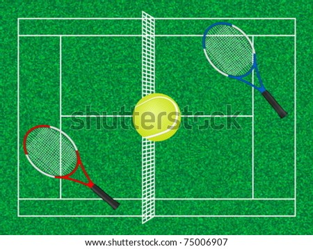 Tennis court, ball and rackets. Vector illustration.