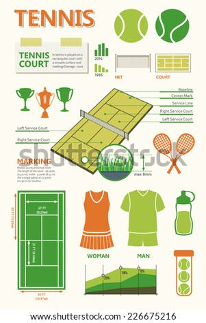 Tennis court. Info graphics set. Simple elements and symbols. Icons for your design. Set of tennis icons. Sports objects.  - stock vector