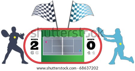 Tennis Field, tennis players, sports - stock vector
